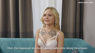 A little innocent virgin blonde, confirms her virginity.