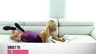 Petite sexy blonde cutie in pigtails Piper Perri gets her