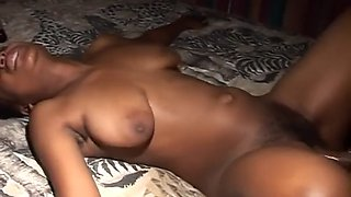african dude fucks busty ebony chick and cums on her hairy mound