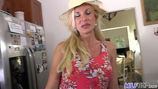 Talkative and flirty amateur blonde MILF tries to flirt to win some boner cock