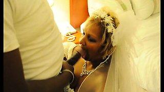 Slutty mature bride takes a big black cock down her throat