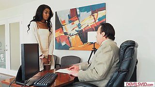 Small tits ebony teen intern gets fucked by her older boss