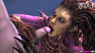 Horny alien like Starcraft slut gets missionary and lots of jizz on her