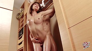 Tgirl bound in his bedroom used like his personal sex toy