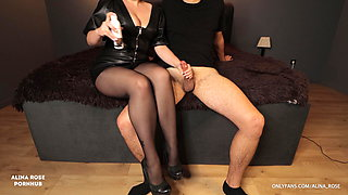 School teacher gives handjob in new striped pantyhose and gets cum in panties