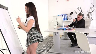 Lovely student in short skirt Little Candy gets her anus nailed hard right on the table