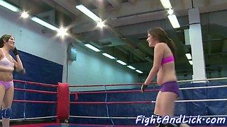 Inked euro dyke wrestling a lesbo babe