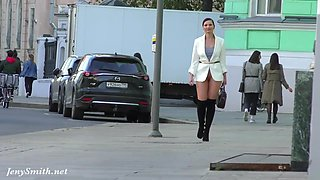 Independent Woman. Jeny Smith in pantyhose without panties in public