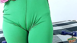 Round Ass Teen Has Deep Cameltoe In Tight Yoga Spandex Pants