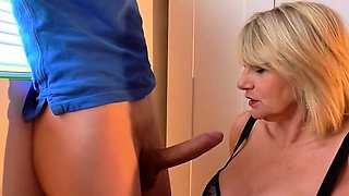 Buxom blonde cougar in lingerie can't resist a young cock