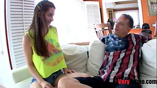 Daughter seduces old dad