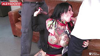 Tattoed Brunette Gets All Covered In CUM