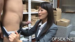Gorgeous young playgirl seduces an older guy in the office