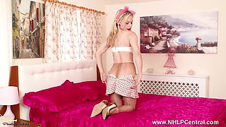 Blonde secretary strips off fucks pussy in sheer pantyhose