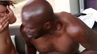 Too much dick for her -Teen girl fucks black man