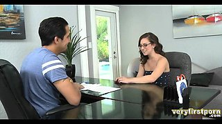 Brunette with Glasses has her first casting