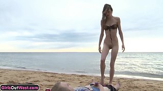 Skinny amateur girl fucked and creampied on the beach