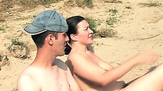 Slut stepMom and son on the Nude Beach fuck for money
