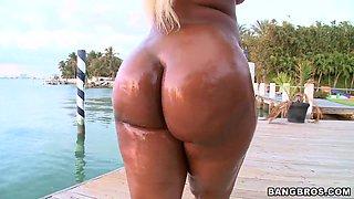 Big ass blonde Gizelle XXX oiled up ass parade