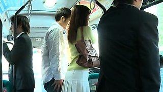 Huge bust on an oriental hottie getting manhandled in a bus