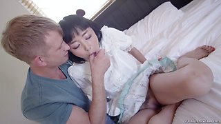 Slim and cute Asian Marica Hase gets brutally mouthfucked by white stud