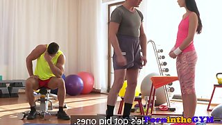 Gym babe pussyfucked while sucking cock