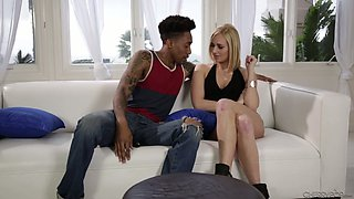 Horn-mad sinful blondie Kate England bows and sucks long BBC without hesitation
