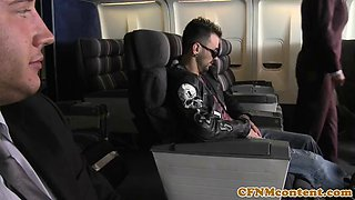 CFNM stewardesses banged in airplain fourway