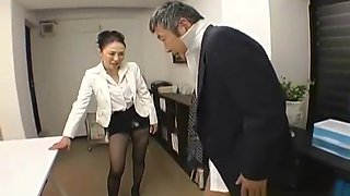 Office boss pegging her employee