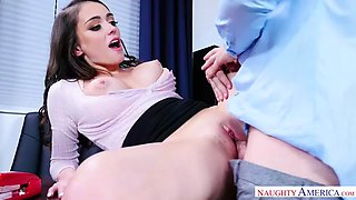 Busty secretary ashly anderson helps her boss date with sex