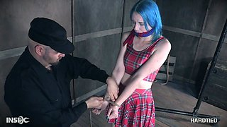 Hogtied blue haired submissive hoe Lux Lives gets her nipples pinned hard