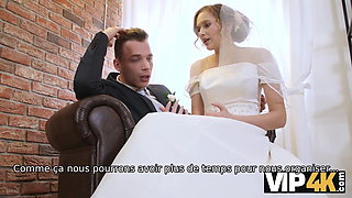 VIP4K. Beauty in bridal dress sucks strangers' cock and gets fucked