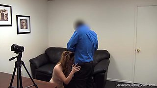 Hot busty chick does a great mouthjob and swallows a dose of jizz