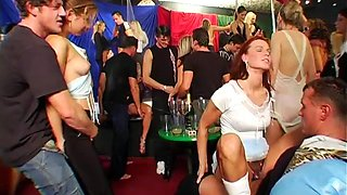 Hardcore sex party with bisexual European bitches and hung men