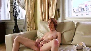 Virgin redhead rubs her pink juicy twat