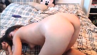 Cute brunette camgirl has a pink toy making her pussy happy
