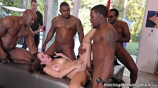 Birthday girl Alana Cruise is fucked by several horny black dudes