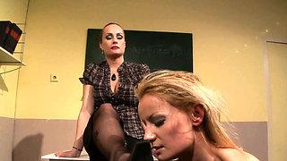 Lezdom teacher dominates over timid sub
