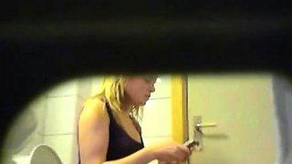 Blonde amateur teen toilet pussy ass hidden spy cam voyeur 5