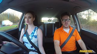 Bushy big titty brunette gives head and clit to driving instructor