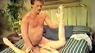 Fine lean vintage white chick gives head and rides on that cock