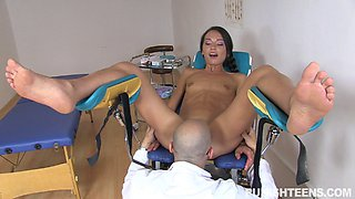 Small tits brunette seduces her doctor and has her anal drilled hardcore