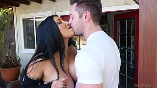 Seductive black-haired bombshell August Taylor pounded on a car