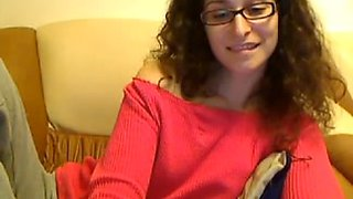 All alone slutty brunette webcam nympho shows off her shaved nice pussy
