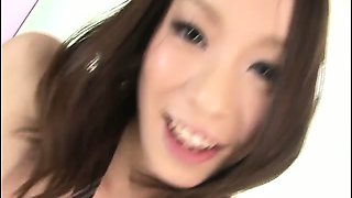 Green eyed honey Nao Kojima strips out of her school