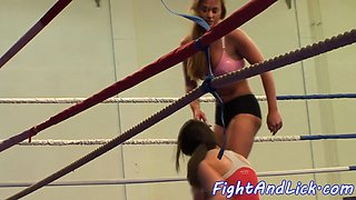 Athletic lesbian dominates during wrestling