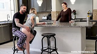 Ample breasted stepsister Cara May is fucked hard by kinky stepbrother