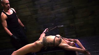 Extreme double fisting and rough anal bondage gangbang first