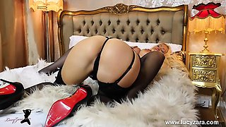 Big tits lesbians ass pussy fun on bed in lingerie and nylon