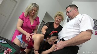 Restless cock sharing for the naked mom, auntie and daughter